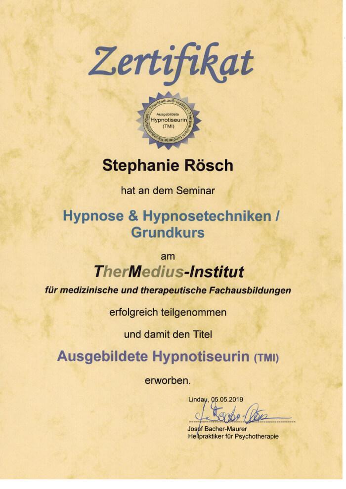 zertifikat thermedius grundausbildung hypnose stephanie Rösch