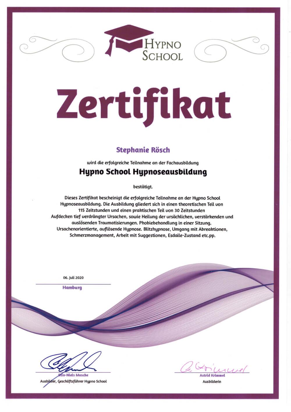 zertifikat hypnoseausbildung stephanie rösch
