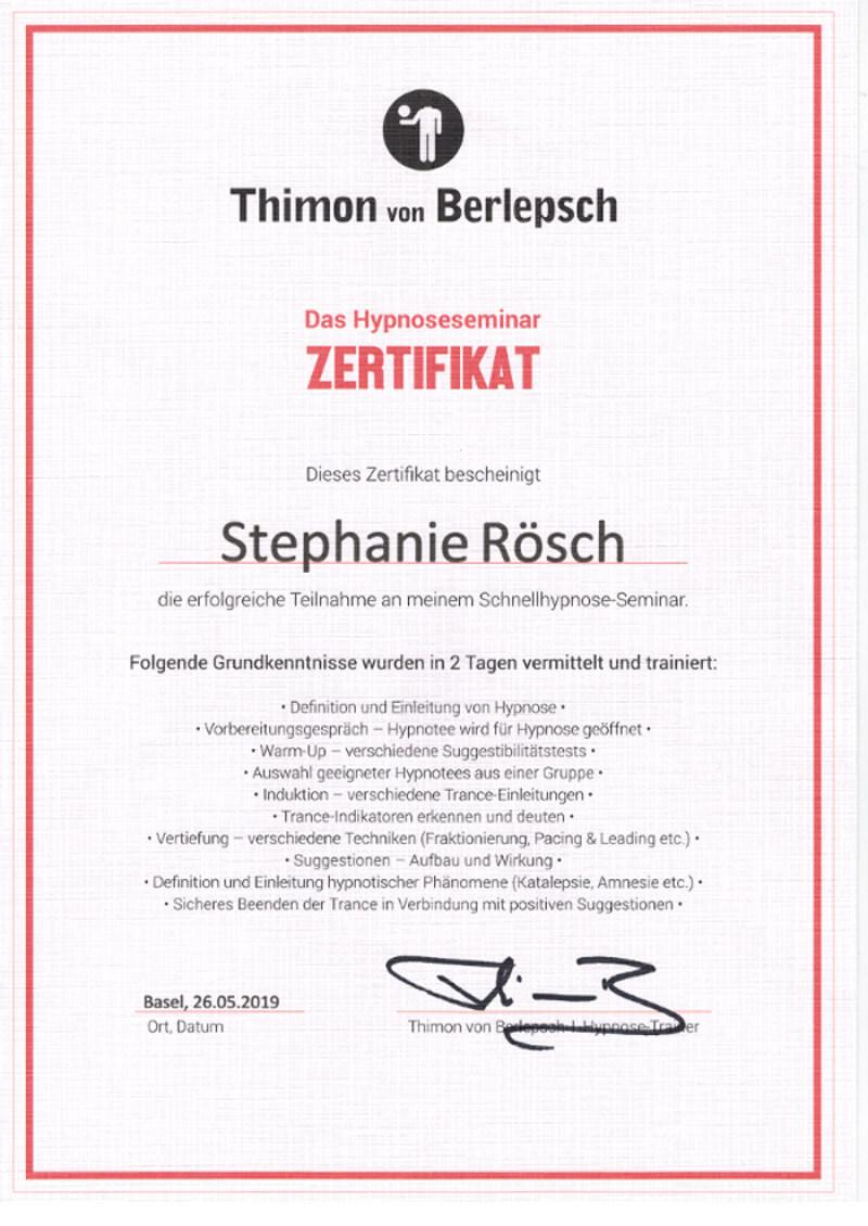 zertifikat schnellhypnose von Stephanie Rösch