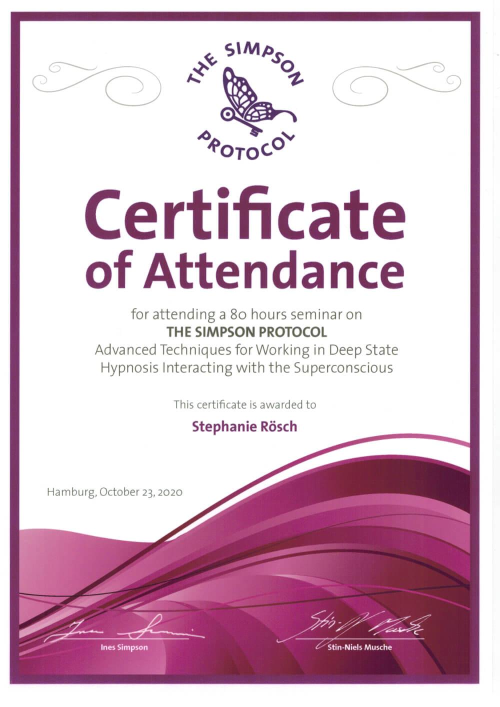 zertifikat simpson protocol stephanie roesch