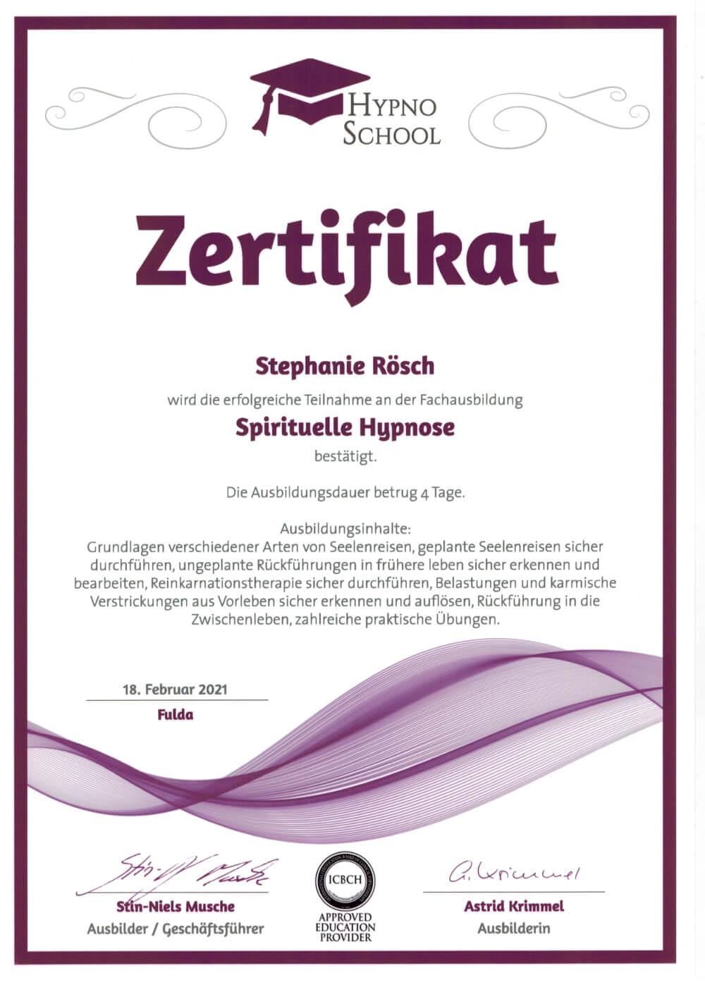 spritiuelle hypnose zertifikat stephanie Rösch
